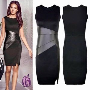 """""""Adelaide"""" Sexy Patchwork PU Leather Bodycon Dress"""